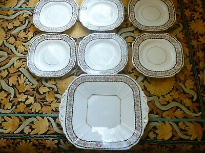 Vintage Melba English Bone China cake plate and 6 smll plates- Great Condition