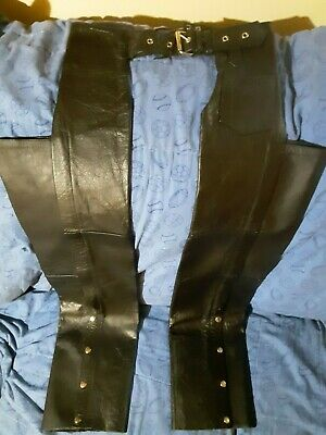 Hot Leathers Women's Black Leather Motorcycle Chaps Size  XXS
