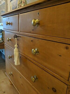 Antique victorian pine chest of drawers waxed