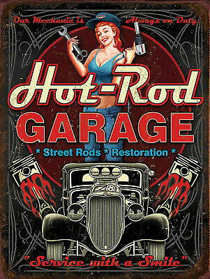 Hot Rod Garage, Retro replica vintage style metal tin sign gift garage