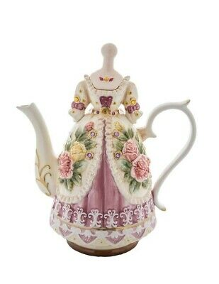Victorian Trading Co Marie Antoinette Pink Roses Floral Dress Teapot