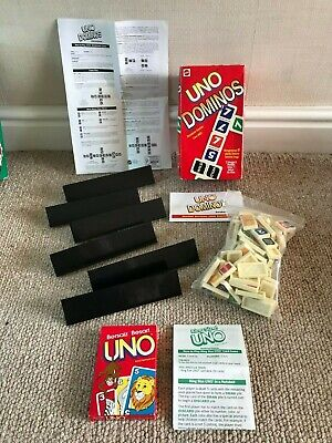 UNO DOMINOS Game 81 Dominos 6 Playing Racks - 1995 FREE KING SIZE UNO CARD GAME!