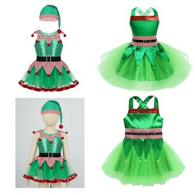 Kids Girls Christmas Fairy Spirit Costume Dancewear Outfit Sequined Cosplay Set