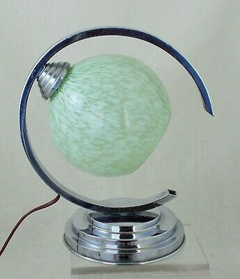 French Art Deco Original Chrome And Glass Desk Lamp in Excellent Condition c1930