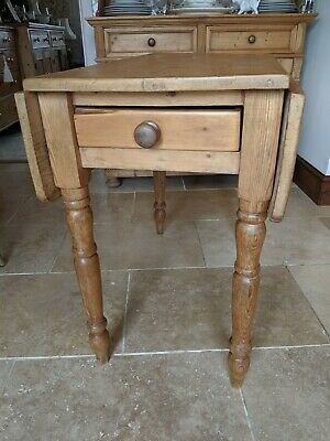 Antique Victorian Pine Pembroke Farmhouse Table waxed extendable