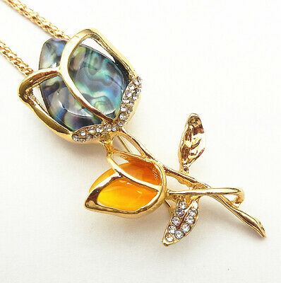 Betsey Johnson Blue Yellow Tulip Flower Crystal Pendant Necklace/Brooch