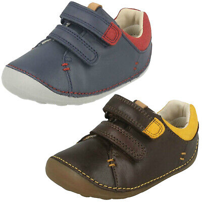 Boys Toddler Clarks Tiny Toby Hook & Loop Casual Pre Walking First Shoes Size