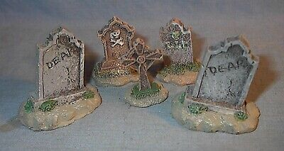 VINTAGE LEMAX SPOOKY TOWN FIVE GRAVE STONES LOOSE listing others