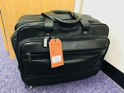 LOVELY BNWT 'John Lewis' Black Leather Briefcase/Flight Bag - Great!! £140 New!!