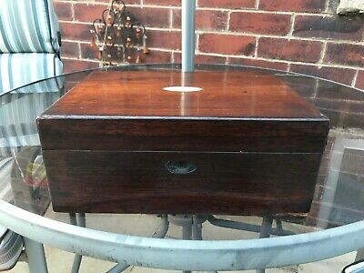 Antique 19th Century Rosewood Box & Mother of Pearl NO KEY. 30 cm x 22 cm