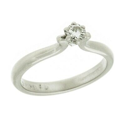 Estate Artcarved Diamond Solitaire 14k White Gold Engagement Ring Size 6