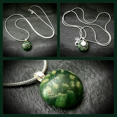 Ancient Egyptian Mosaic Glass Green Pendant & Silver Chain 100 B.c. - 100 A.d.