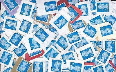 GB unfranked, 100x 2nd blue heads, on paper(facevalue 61 GBP) ,great !!!!!!!!!