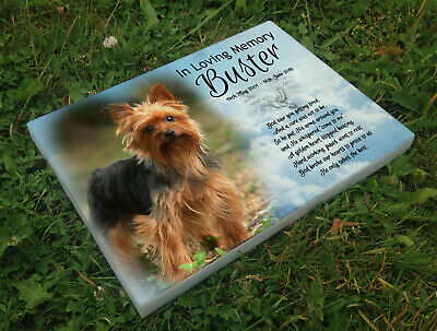 Personalised grave headstone memorial plaque dog Yorkshire terrier or any breed