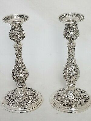 "pair 925/1000 Sterling S KIRK & SON CO 10"" Candlesticks REPOUSSE no.88 ~exc cond"