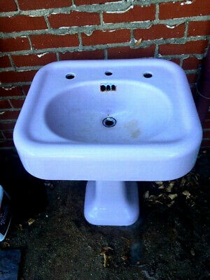 Antique Vintage Pedestal Porcelain Cast Iron Sink