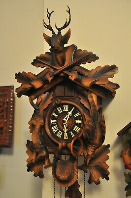 Hunter Style, Black Forest, Musical Cuckoo Clock; Great Condition; See Video
