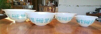 Vintage Pyrex Amish Butterprint All White 441,442,443,444 Cinderella Mixers HTF