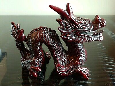 Resin hard plastic Chinese Feng Shui Dragon Figurine Statue for Luck and Success