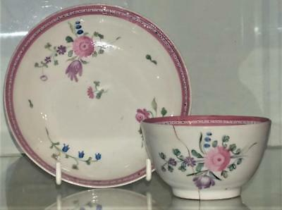 18th C New Hall Rare Pattern 3 Porcelain Tea Bowl & Saucer 1782+