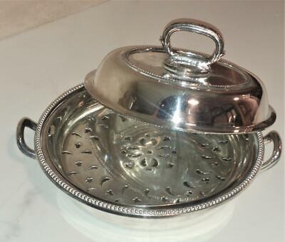 Fine Antique Circular Silver Plated Entree Dish with Two Liners C 1881+