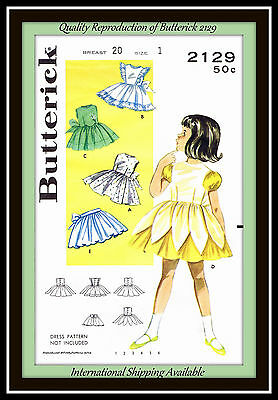 PINAFORES and APRONS RARE Baby Toddlers BUTTERICK 2129 Sew Fabric Pattern SZ 1