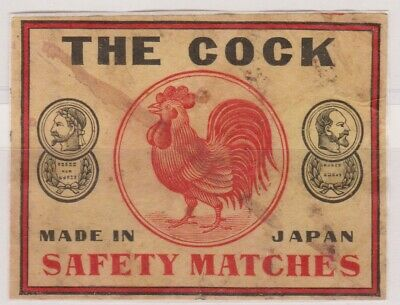 OLD MATCHBOX PACKET LABEL JAPAN, THE COCK, 8.5 x 6.5 cm