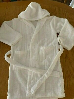 Kids White Unisex 100% Cotton Toweling Hooded Bath Robe Gown Medium Youths