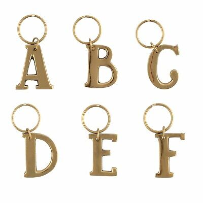 Gold Brass Solid Metal Alphabet Letter Initial Keyrings BNIP High Quality