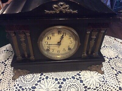 Session Mantle Clock Lion Head Vtg Antique W/ Key  Made In USA