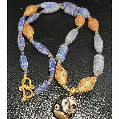 Old Beautiful Antique Lapis lazuli stone Beads Necklace with face pendant  # 27