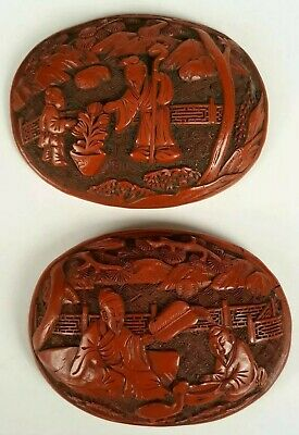 A Chinese Antique Carved Cinnabar Lacquer Covered Box