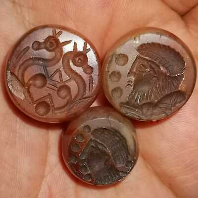 Near Eastern Old 3 Pcs Agate stone intaglio  emperors & horses Beads    # 27
