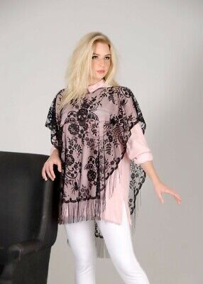 Victorian Trading Co Halloween Costume Poncho Black Heritage Lace 40E