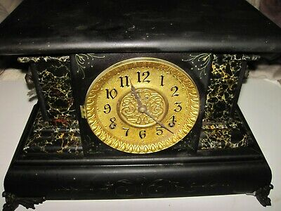 Antique E. Ingraham Co. Bristol Conn. USA Mantle Gong Chime Lions Head Clock