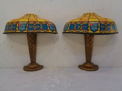 2 VTG Heileman OLD STYLE Beer Lights Wall Sconces Pure Brewed Genuine Sign Pair