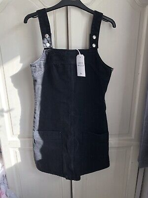 Jack Wills Black Denim Pinafore / Dungaree Dress Size 8 - Brand New With Tags