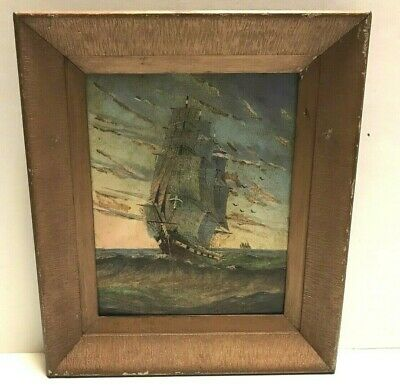 Antique Vintage Nautical Maritime Oil Painting Clipper Sailing Ship Signed
