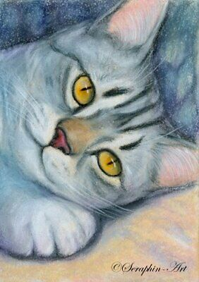 Tabby Cat Original ACEO Watercolor Pencil Painting Kitten Drawing Seraphin-Art