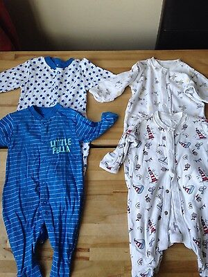 Matalan Early Days Baby Boys Toddler sleepsuits x 4, 0-3 months VGC