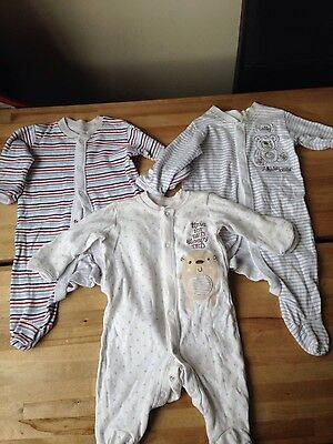 Matalan Baby boys Toddlers Long sleeve Sleepsuits x 3,0-3 months VGC