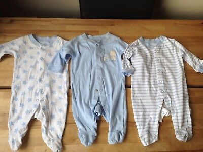 Baby boys Toddlers sleepsuits x 3, 0-3 months George VGC