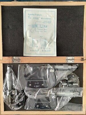 """NEW 0-3"""" Outside Micrometer 3pc Set - Precision Machinist Tool"""