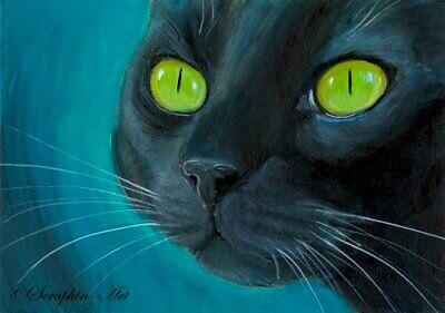 Original ACEO Miniature Acrylic Painting Black Cat Miniature Kitten Seraphin-Art