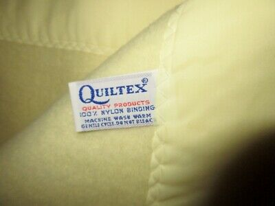 Vtg Quiltex Baby Blanket Yellow 100% Acrylic Binding Union Made Trim Solid