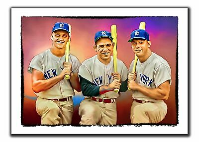 Aceo Mantle-Maris-Berra Nyy 14/20 Art Sketch Card Limited Print Artist Signed