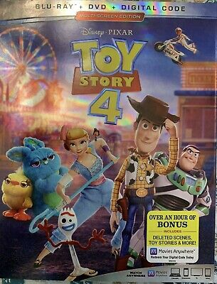 Toy Story 4 (Blu-ray/DVD/Digital) Includes Slipcover & Exclusive Lithograph, New