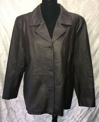 Womens Dialogue Dark Brown Leather Jacket Size XL Button Front Coat