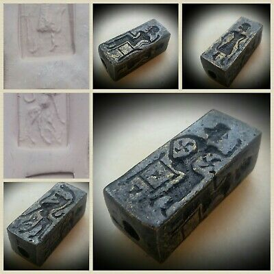 ANCIENT BRONZE PERSIAN 4 SIDED SEAL INTAGLIO BEAD KINGS ANIMALS c 500 BC