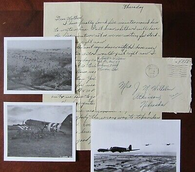 WWII letter lot, D-Day & South France Troop Carrier drop, C-47 Pilot, Macon GA.